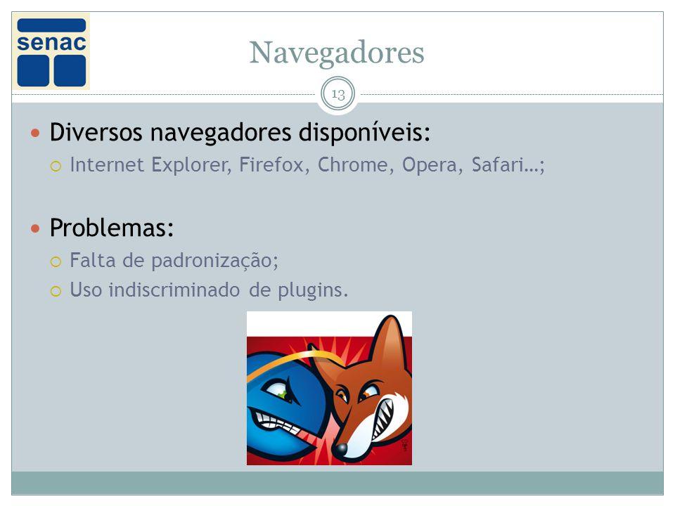 Navegadores Diversos navegadores disponíveis: Problemas: