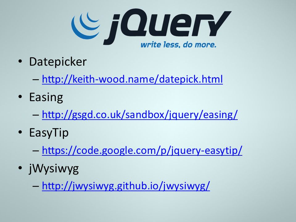 Datepicker Easing EasyTip jWysiwyg