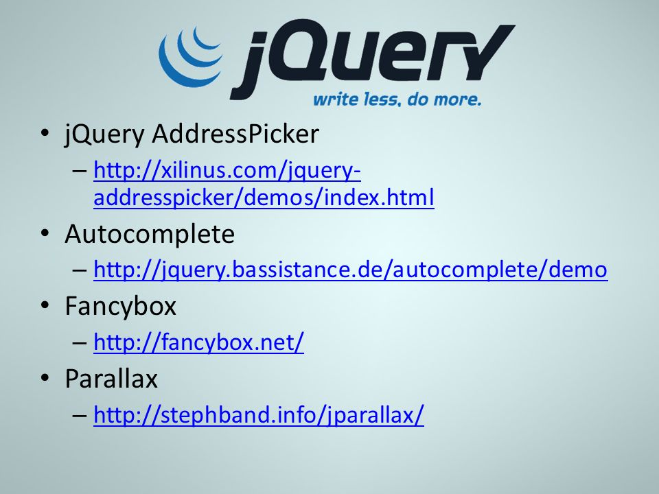 jQuery AddressPicker Autocomplete Fancybox Parallax