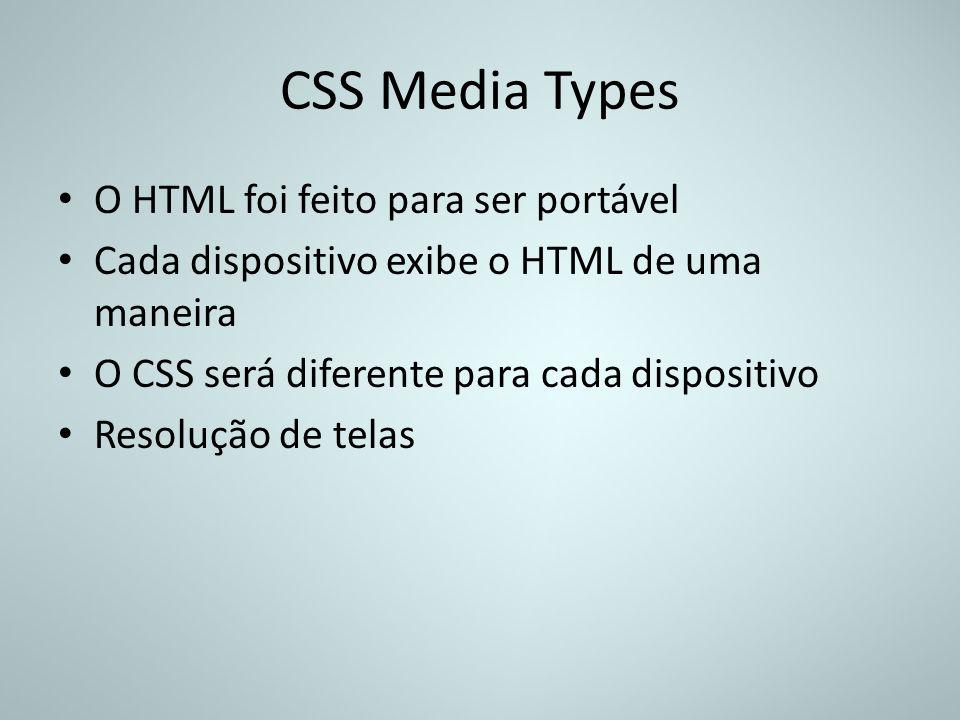 CSS Media Types O HTML foi feito para ser portável