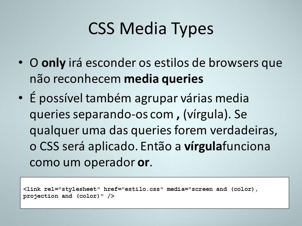 CSS Media Types O only irá esconder os estilos de browsers que não reconhecem media queries.