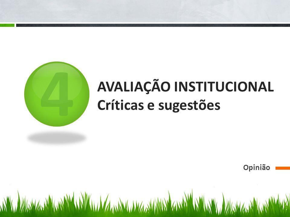 AVALIAÇÃO INSTITUCIONAL Críticas e sugestões
