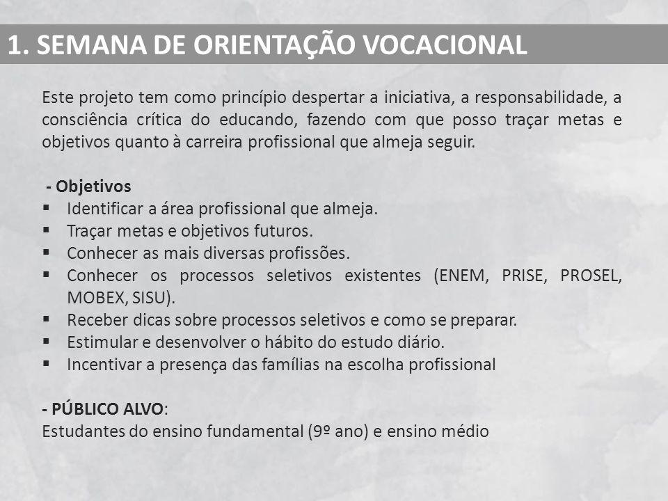 1. SEMANA DE ORIENTAÇÃO VOCACIONAL