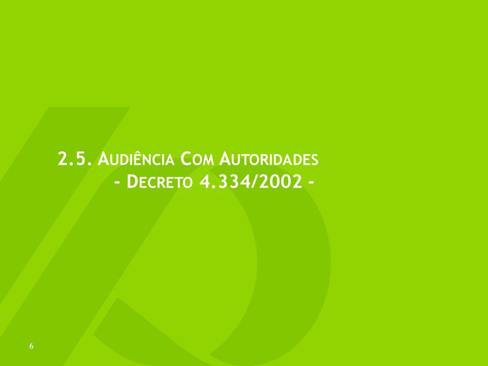 2.5. Audiência Com Autoridades - Decreto 4.334/2002 -