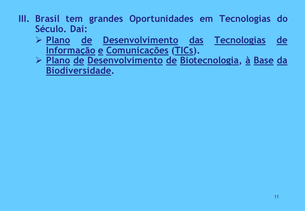 Brasil tem grandes Oportunidades em Tecnologias do Século. Daí: