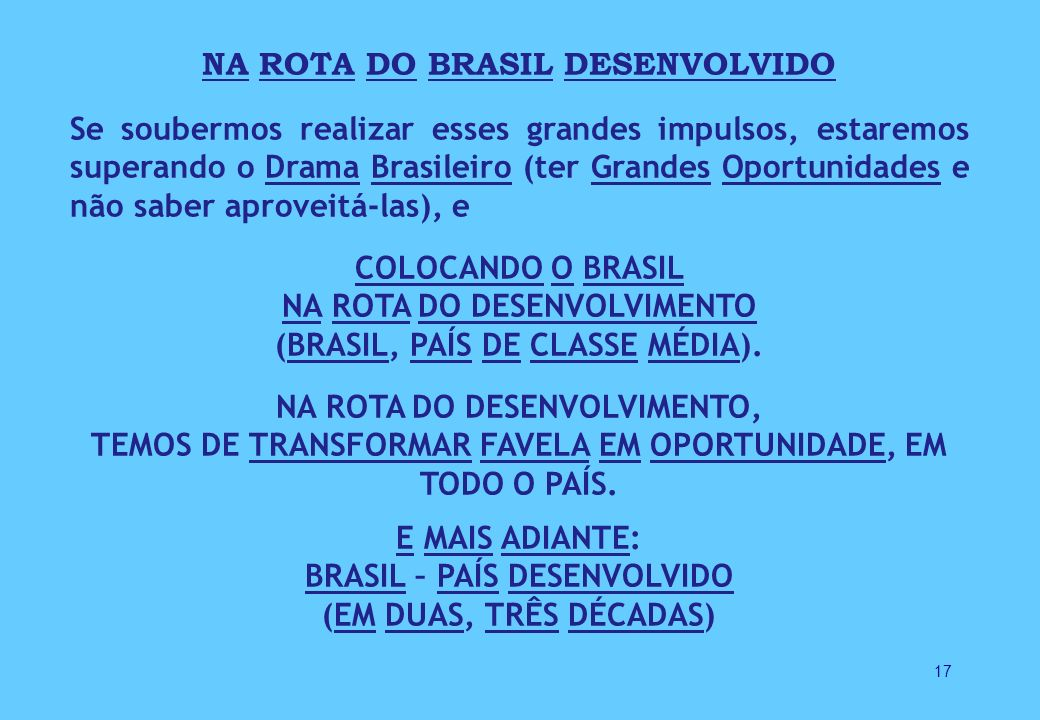 NA ROTA DO BRASIL DESENVOLVIDO BRASIL – PAÍS DESENVOLVIDO