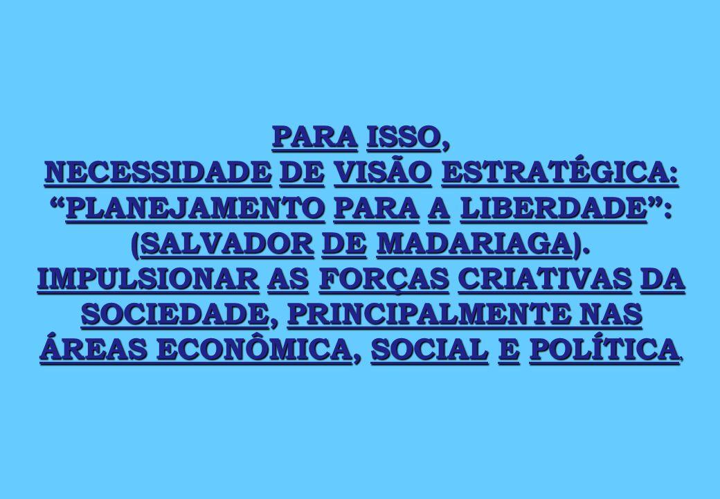 PARA ISSO, NECESSIDADE DE VISÃO ESTRATÉGICA: PLANEJAMENTO PARA A LIBERDADE : (SALVADOR DE MADARIAGA).