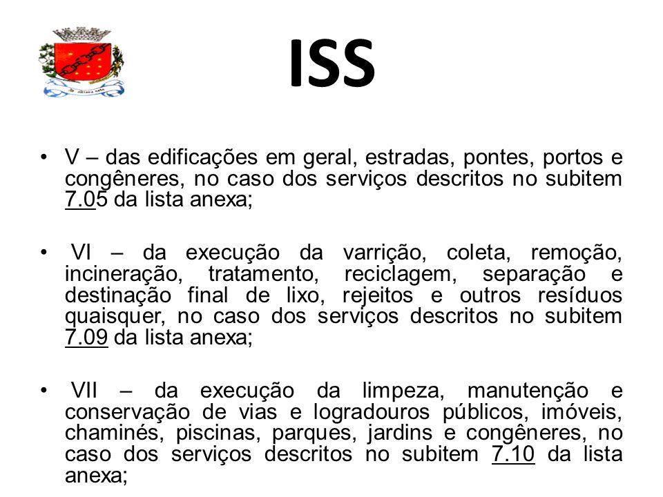 ISS V – das edificações em geral, estradas, pontes, portos e congêneres, no caso dos serviços descritos no subitem 7.05 da lista anexa;