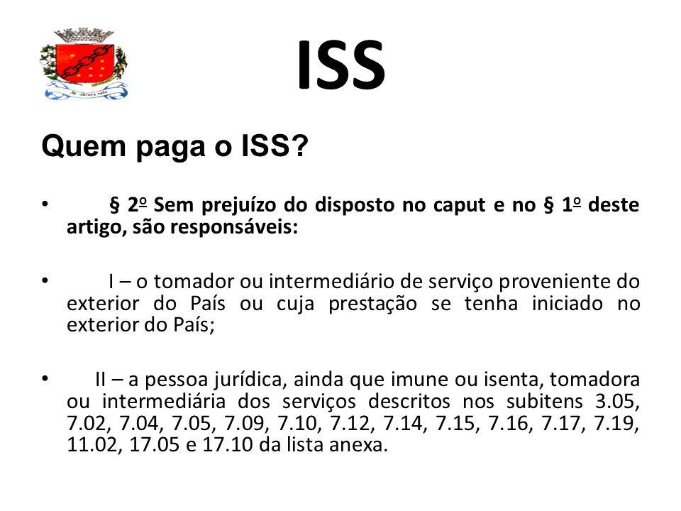 ISS Quem paga o ISS § 2o Sem prejuízo do disposto no caput e no § 1o deste artigo, são responsáveis: