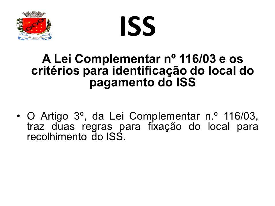 ISS A Lei Complementar nº 116/03 e os critérios para identificação do local do pagamento do ISS.