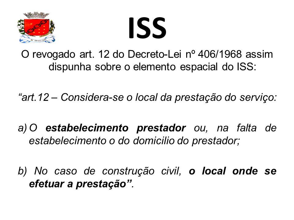 ISS O revogado art. 12 do Decreto-Lei nº 406/1968 assim dispunha sobre o elemento espacial do ISS: