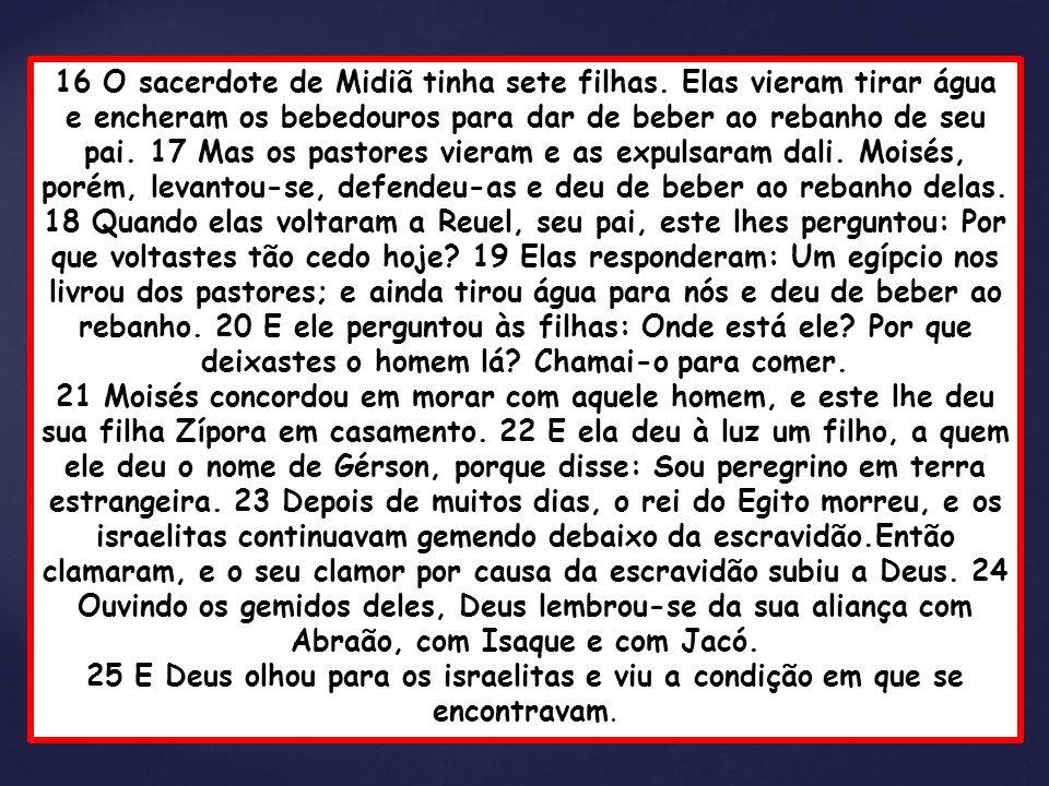 16 O sacerdote de Midiã tinha sete filhas