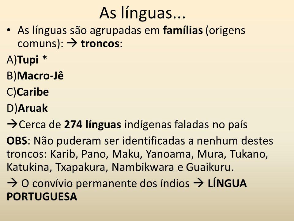 As línguas... As línguas são agrupadas em famílias (origens comuns):  troncos: A)Tupi * B)Macro-Jê.