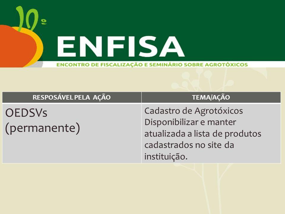 OEDSVs (permanente) Cadastro de Agrotóxicos