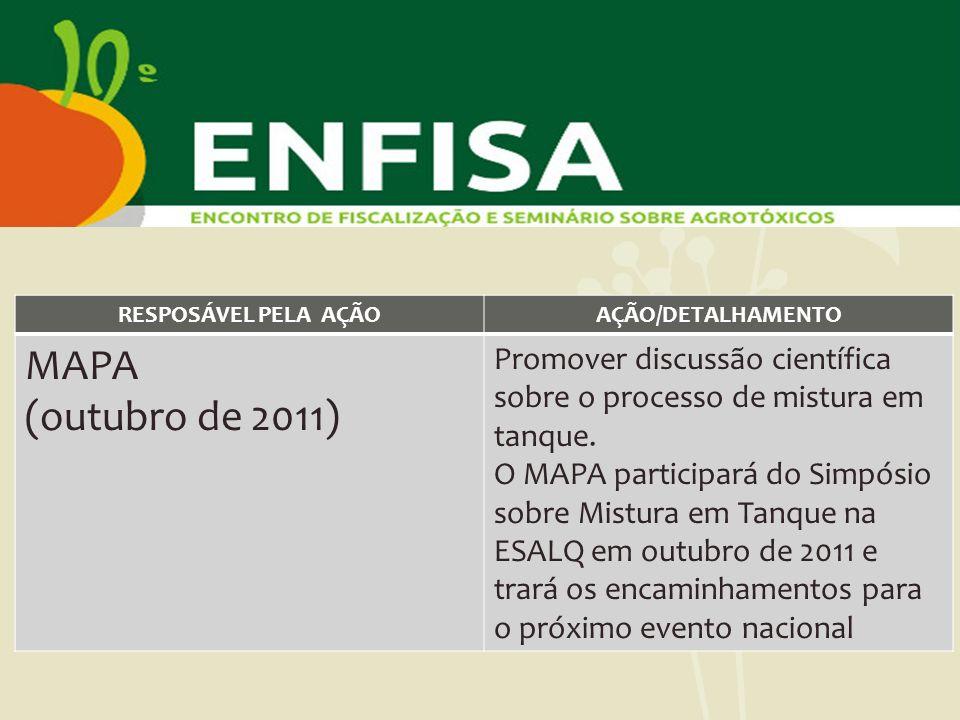 RESPOSÁVEL PELA AÇÃO AÇÃO/DETALHAMENTO. MAPA. (outubro de 2011) Promover discussão científica sobre o processo de mistura em tanque.
