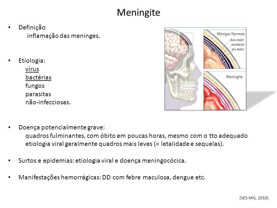 Meningite Definição inflamação das meninges. Etiologia: vírus