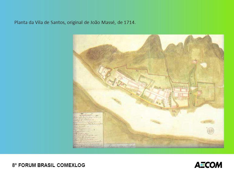 Planta da Vila de Santos, original de João Massé, de 1714.