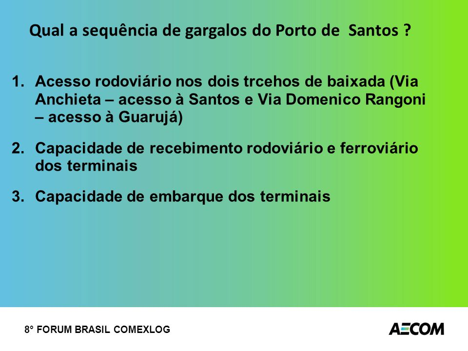 Qual a sequência de gargalos do Porto de Santos