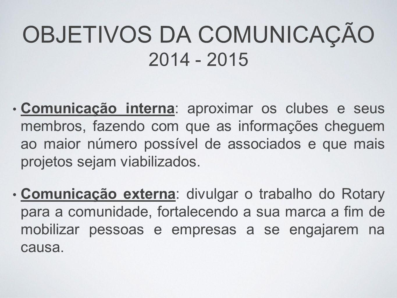 OBJETIVOS DA COMUNICAÇÃO 2014 - 2015