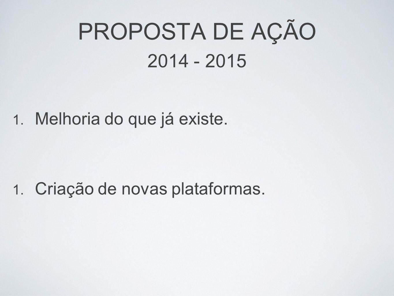 PROPOSTA DE AÇÃO 2014 - 2015 Melhoria do que já existe.