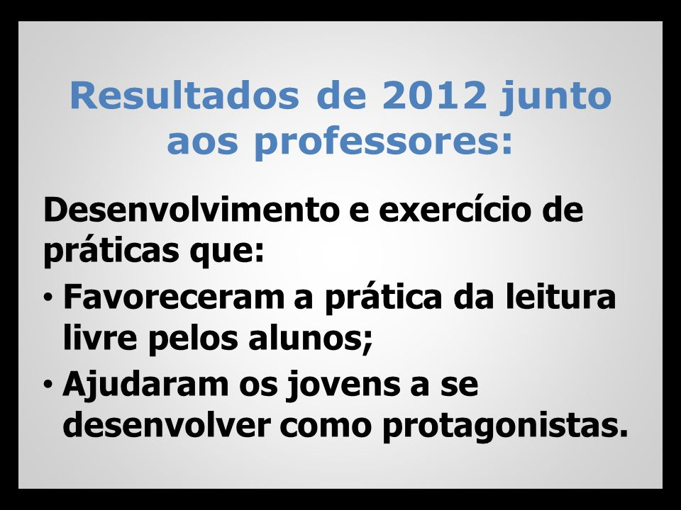 Resultados de 2012 junto aos professores: