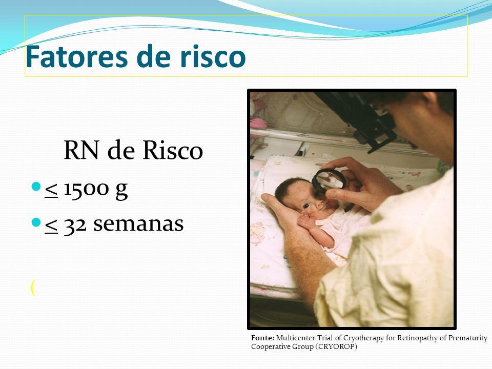 Fatores de risco RN de Risco < 1500 g < 32 semanas (