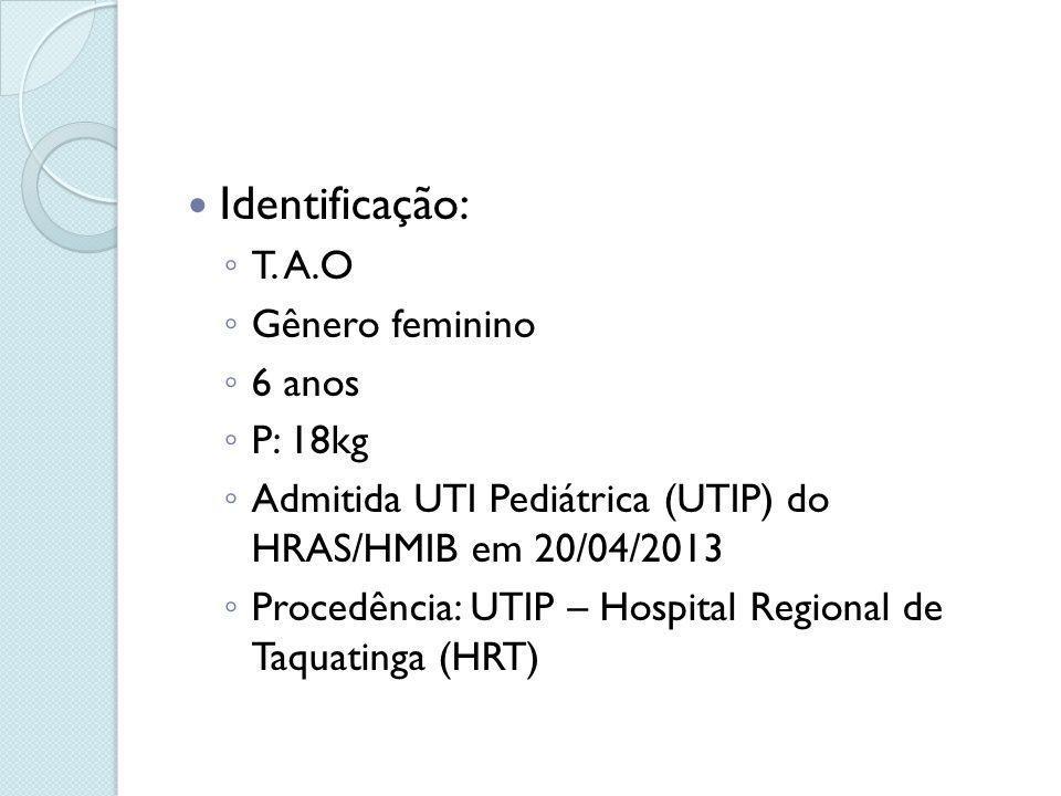 Identificação: T. A.O Gênero feminino 6 anos P: 18kg