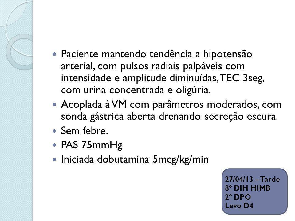 Iniciada dobutamina 5mcg/kg/min