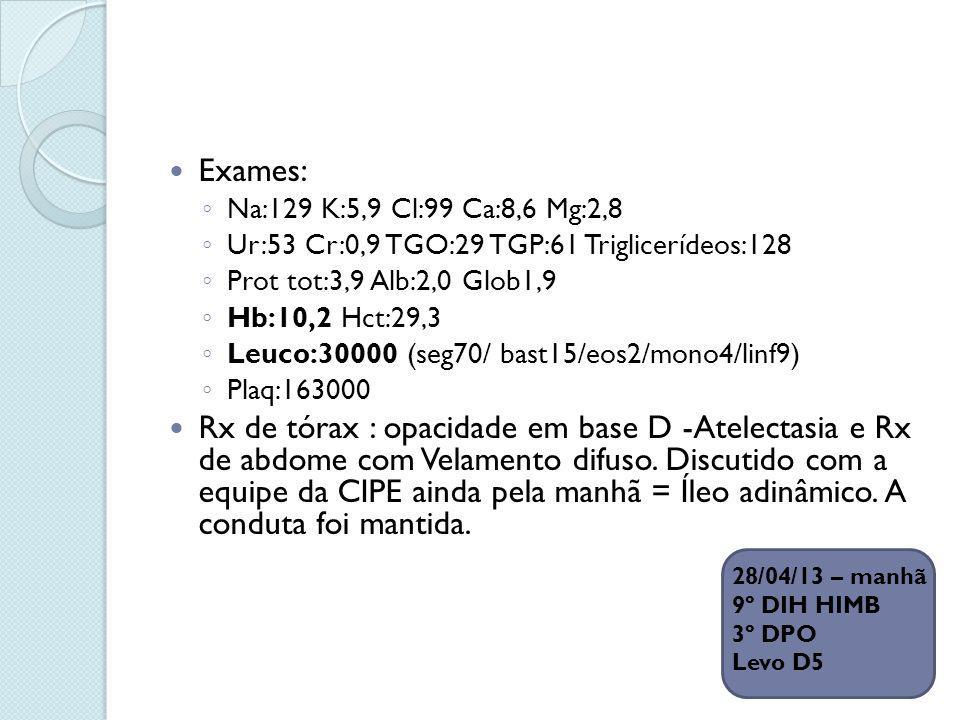 Exames: Na:129 K:5,9 Cl:99 Ca:8,6 Mg:2,8. Ur:53 Cr:0,9 TGO:29 TGP:61 Triglicerídeos:128. Prot tot:3,9 Alb:2,0 Glob1,9.