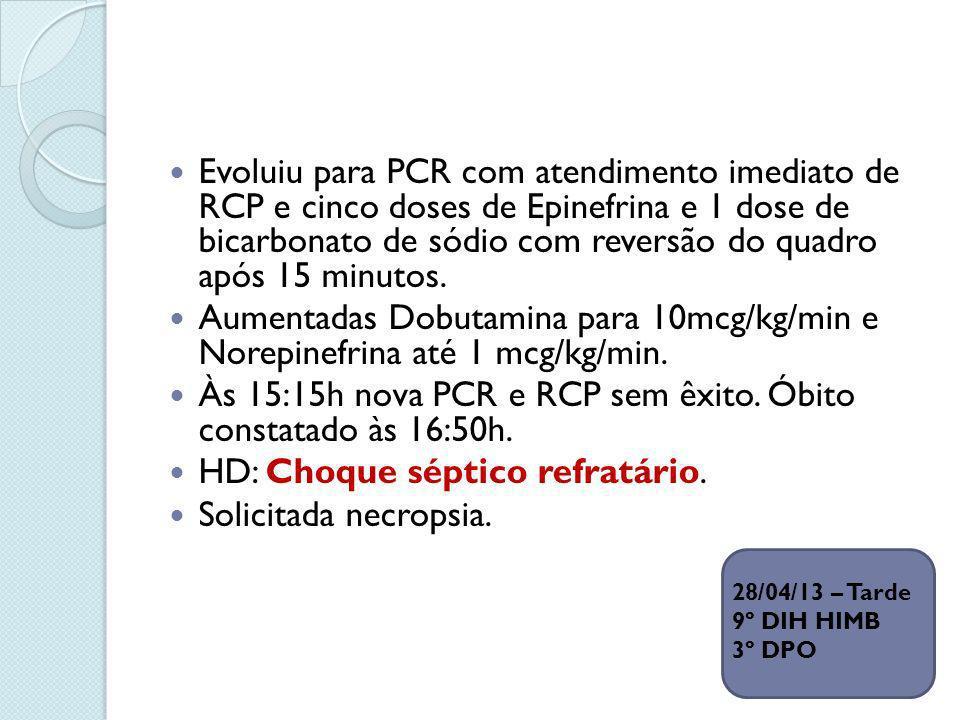 Às 15:15h nova PCR e RCP sem êxito. Óbito constatado às 16:50h.