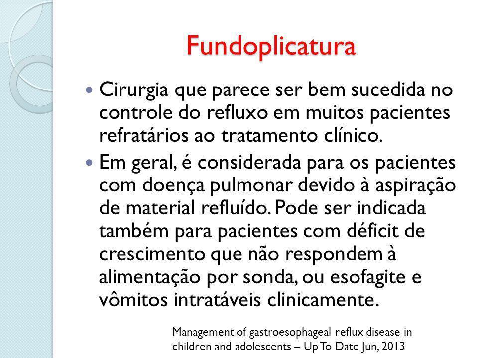 Fundoplicatura Cirurgia que parece ser bem sucedida no controle do refluxo em muitos pacientes refratários ao tratamento clínico.