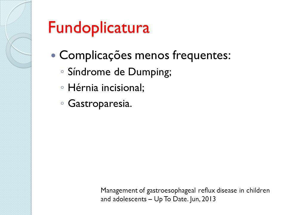 Fundoplicatura Complicações menos frequentes: Síndrome de Dumping;
