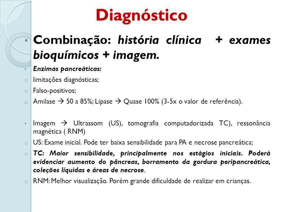 Diagnóstico Combinação: história clínica + exames bioquímicos + imagem. Enzimas pancreáticas: limitações diagnósticas;