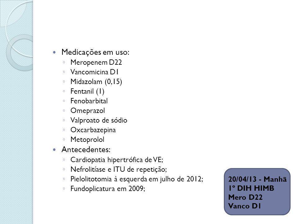 Medicações em uso: Antecedentes: Meropenem D22 Vancomicina D1