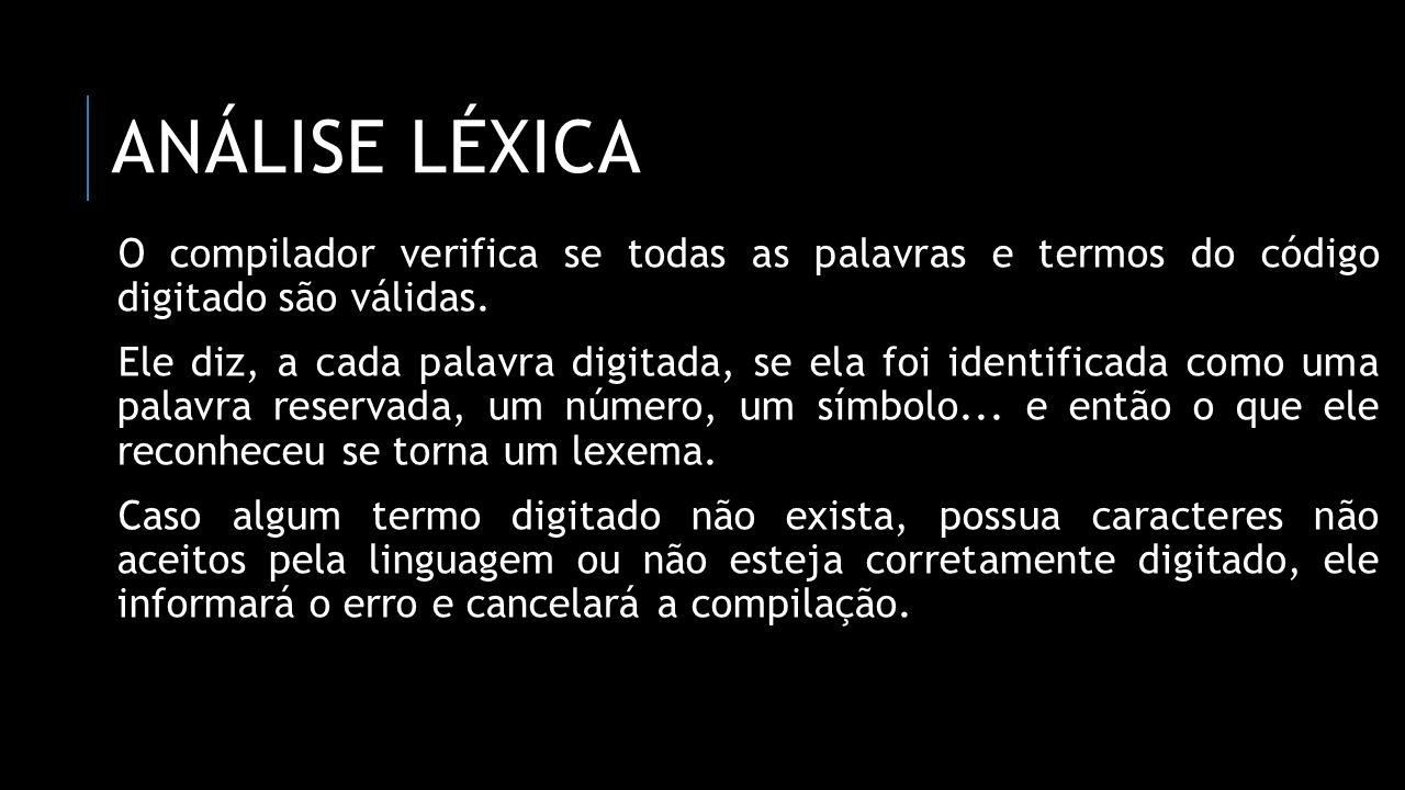 Análise léxica O compilador verifica se todas as palavras e termos do código digitado são válidas.