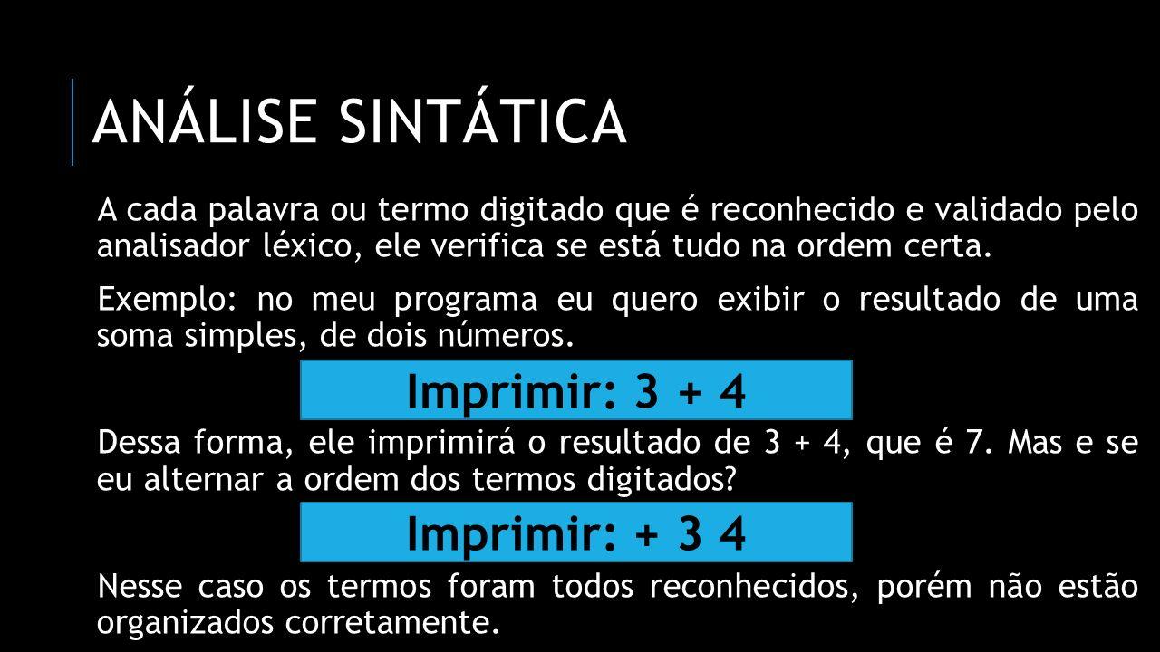Análise sintática Imprimir: 3 + 4 Imprimir: + 3 4