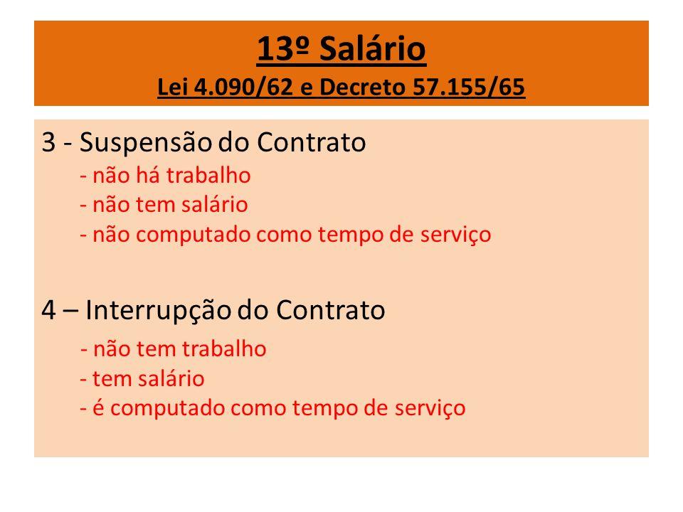13º Salário Lei 4.090/62 e Decreto 57.155/65