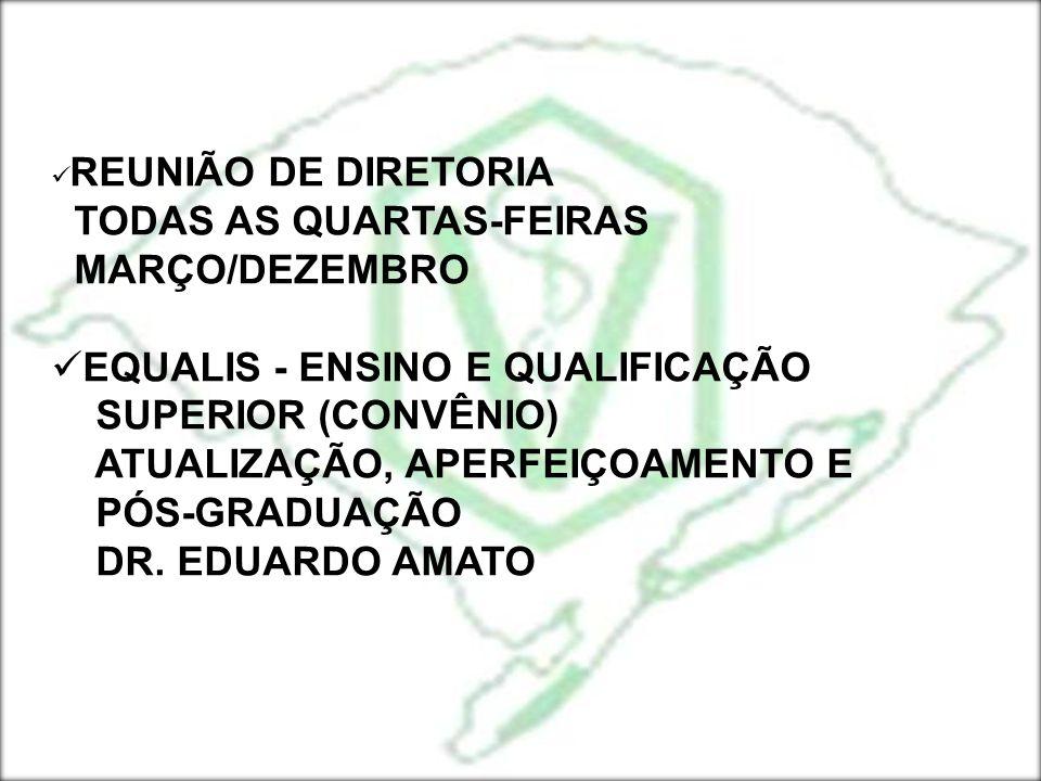 TODAS AS QUARTAS-FEIRAS MARÇO/DEZEMBRO EQUALIS - ENSINO E QUALIFICAÇÃO