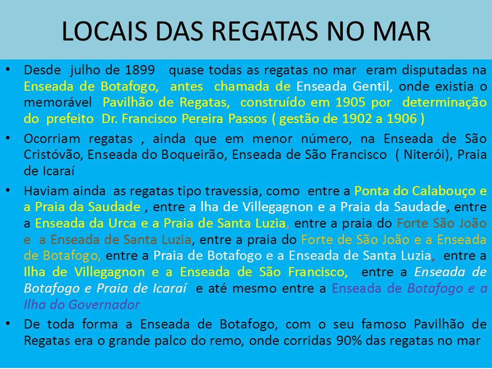 LOCAIS DAS REGATAS NO MAR