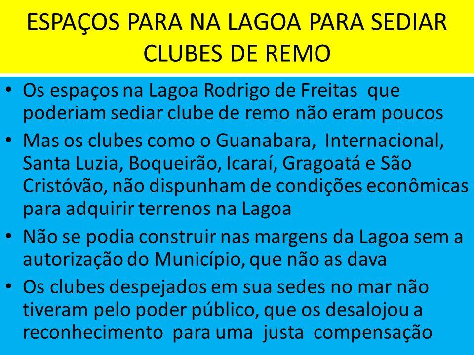 ESPAÇOS PARA NA LAGOA PARA SEDIAR CLUBES DE REMO