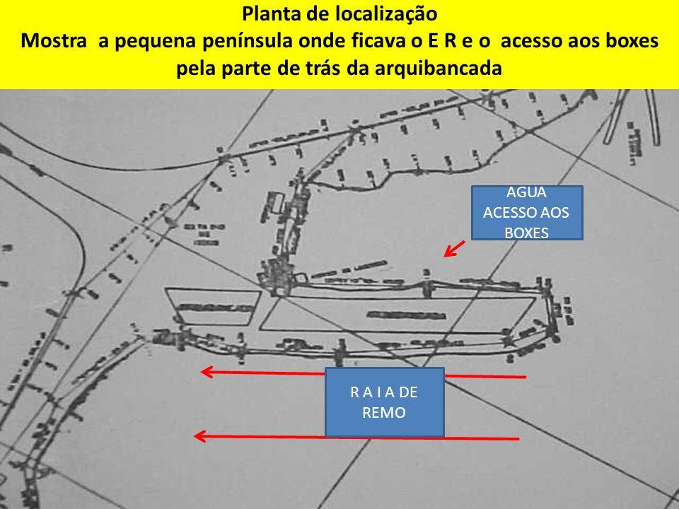 Planta de localização Mostra a pequena península onde ficava o E R e o acesso aos boxes pela parte de trás da arquibancada