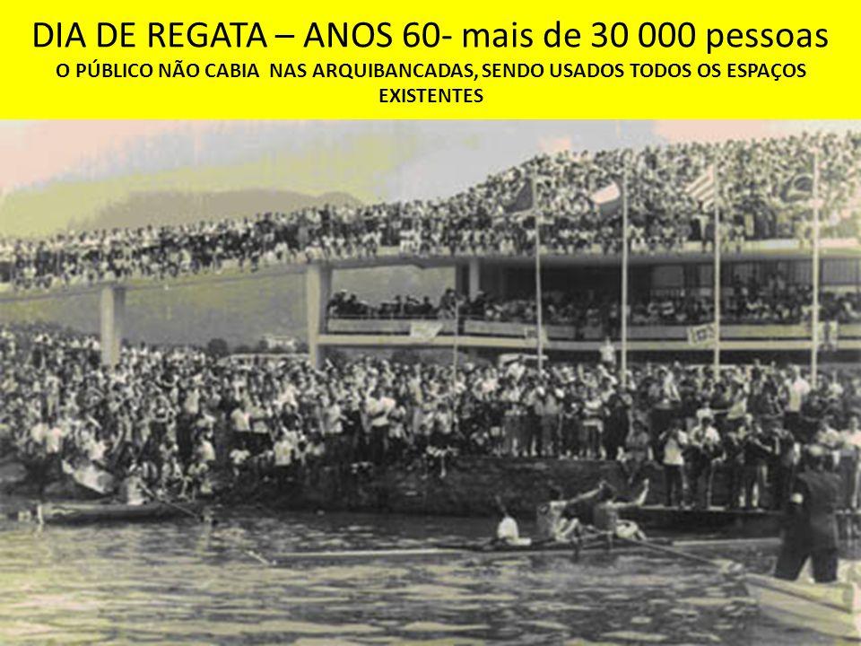 DIA DE REGATA – ANOS 60- mais de 30 000 pessoas O PÚBLICO NÃO CABIA NAS ARQUIBANCADAS, SENDO USADOS TODOS OS ESPAÇOS EXISTENTES
