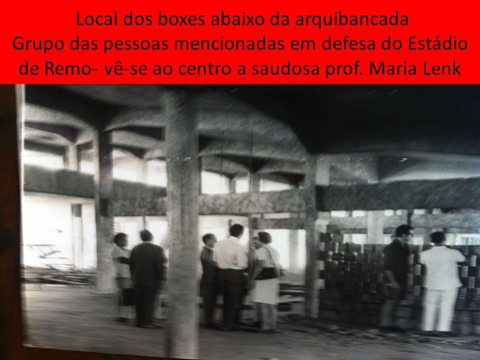 Local dos boxes abaixo da arquibancada Grupo das pessoas mencionadas em defesa do Estádio de Remo- vê-se ao centro a saudosa prof.