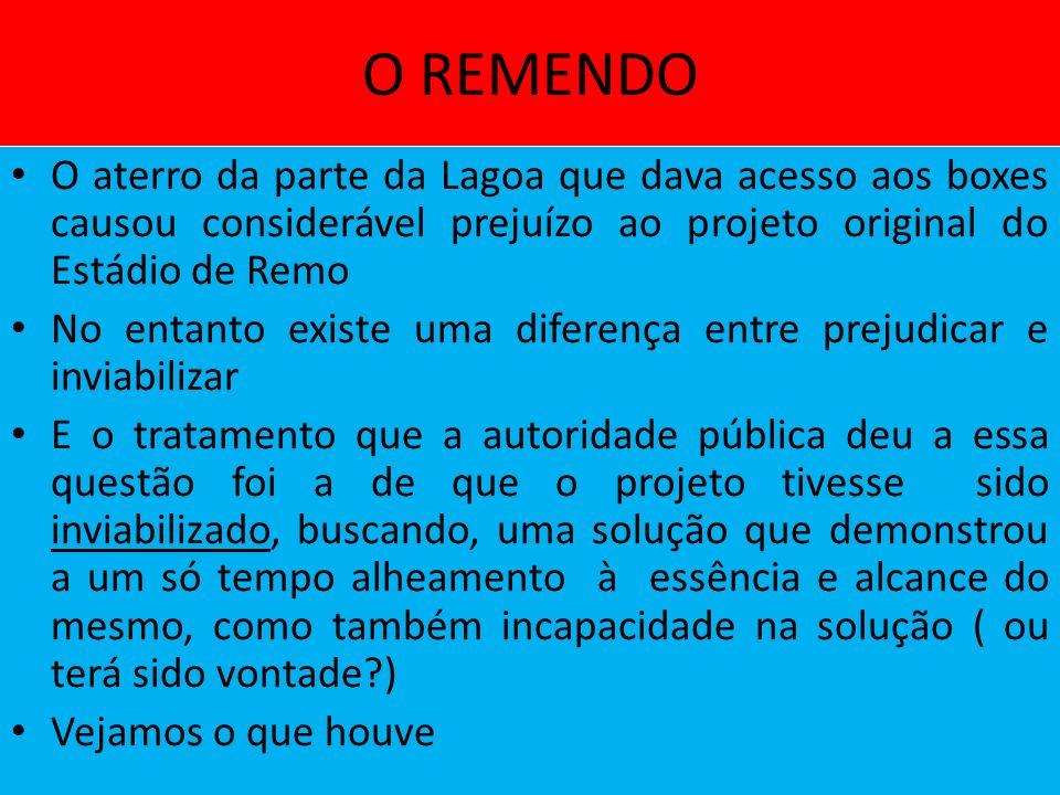 O REMENDO O aterro da parte da Lagoa que dava acesso aos boxes causou considerável prejuízo ao projeto original do Estádio de Remo.