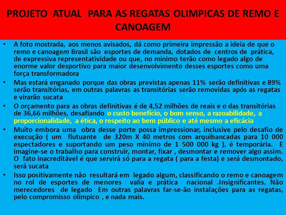 PROJETO ATUAL PARA AS REGATAS OLIMPICAS DE REMO E CANOAGEM
