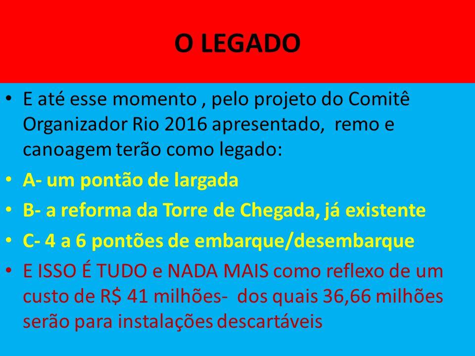O LEGADO E até esse momento , pelo projeto do Comitê Organizador Rio 2016 apresentado, remo e canoagem terão como legado: