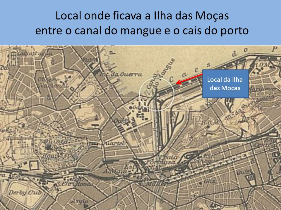 Local onde ficava a Ilha das Moças entre o canal do mangue e o cais do porto