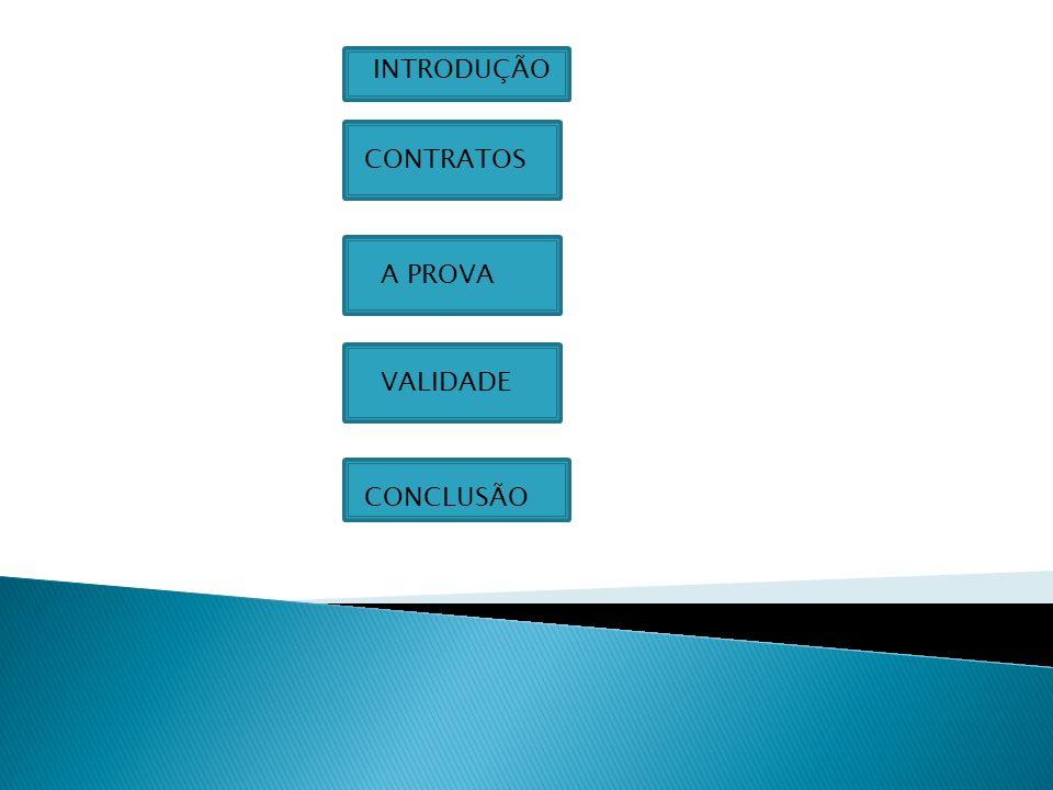 INTRODUÇÃO CONTRATOS A PROVA VALIDADE CONCLUSÃO