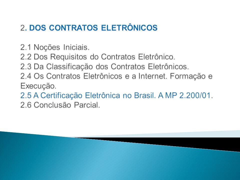 2. DOS CONTRATOS ELETRÔNICOS 2. 1 Noções Iniciais. 2