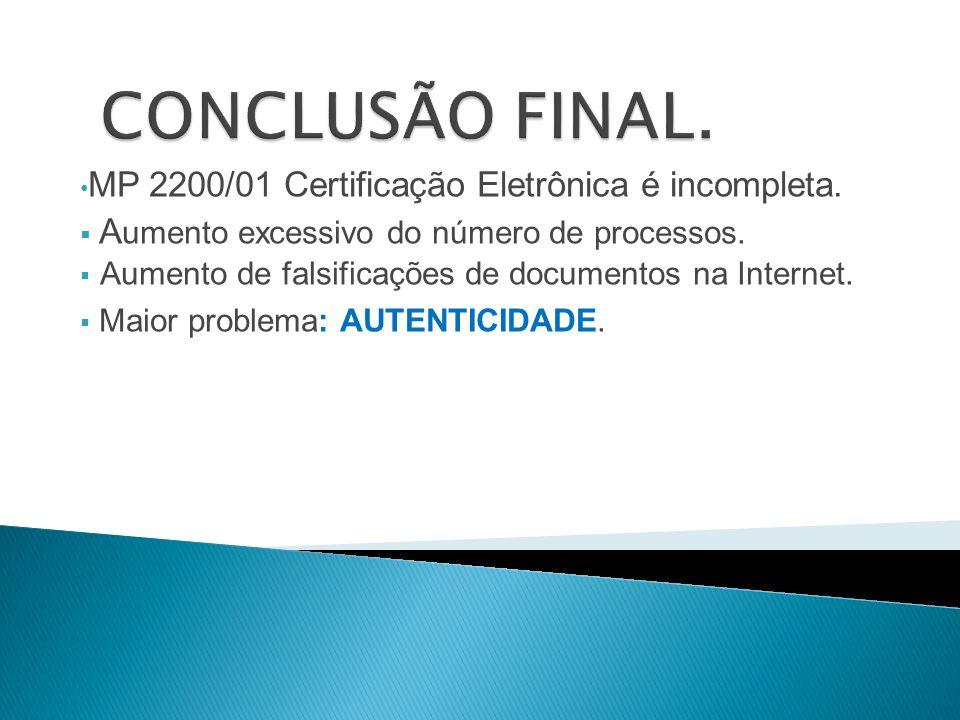 CONCLUSÃO FINAL. MP 2200/01 Certificação Eletrônica é incompleta.